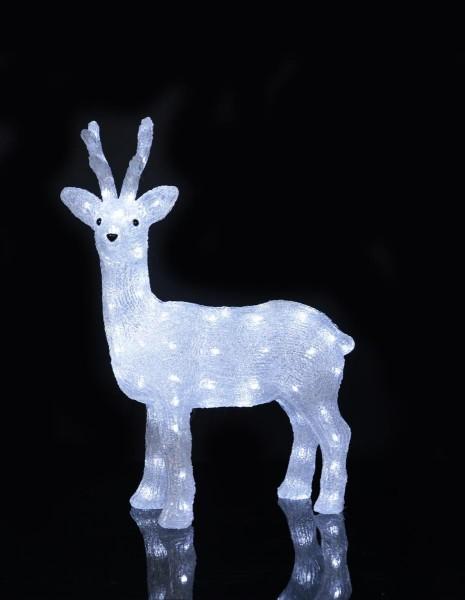 "LED-Acryl Reh ""Crystal Deer"" - 80 kaltweiße LED - stehend - H: 64 cm - outdoor"