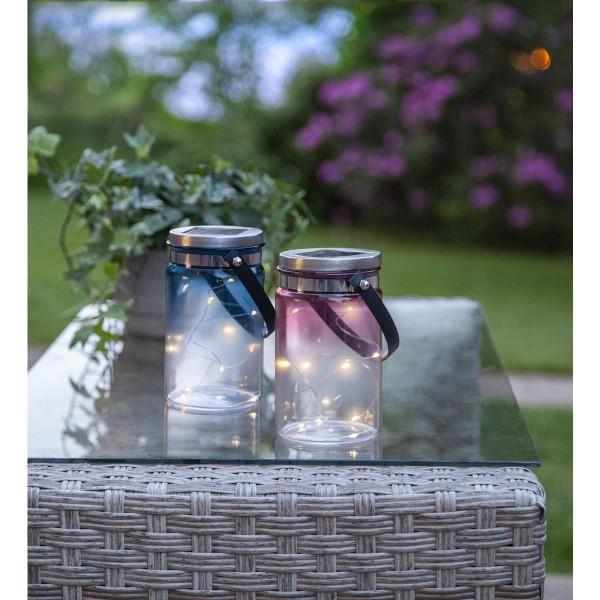 LED Solarglas TINT - LED Drahtlichterkette - Lichtsensor - H:15cm, D: 9cm - mit Aufhänger - blau