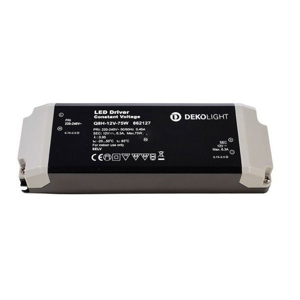 Deko-Light Netzgerät, BASIC, CV, Q8H-12-75W, spannungskonstant, 220-240V AC/50-60Hz, 12V DC, 0-6300