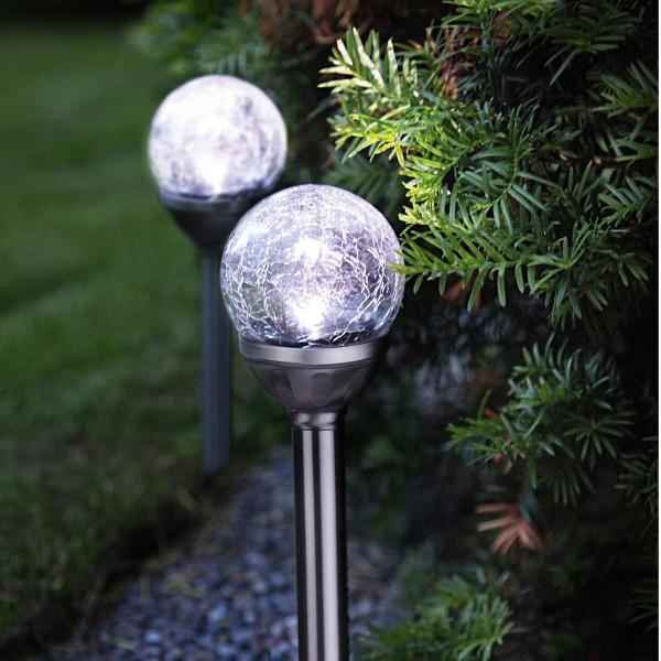 LED Solarkugel/Gartenspieß Bruchglas Optik - H: 26,5cm - Dämmerungssensor - kaltweiß - 2er Set