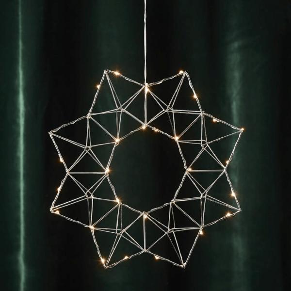 "LED-Drahtstern ""Edge"" - hängend - 30 warmweiße LEDs - Ø: 40cm - silber"