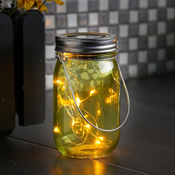 LED Solarglas - Windlicht - LED Drahtlichterkette - Lichtsensor - Aufhänger - H:14cm - D: 8cm - grün