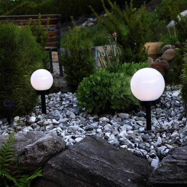 LED Solar Gartenkugel GLOBUS - Erdspieß - H: 35cm, D: 20cm - warmweiße LED - Dämmerungssensor
