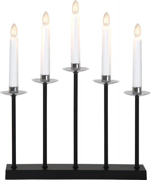 Fensterleuchter GRETA - 5flammig - H: 37cm - warmweiße Glühlampen - schwarz/chrom