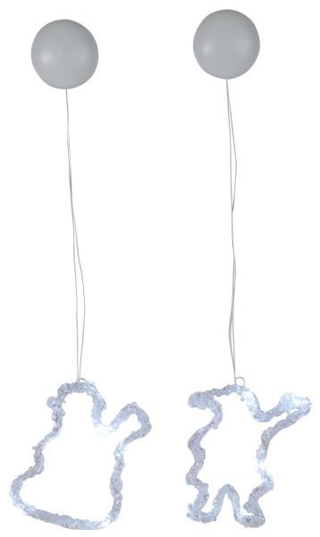 """LED-Fensterdeko """"Iceglow"""" - Schnee-/Weihnachtsmann - 6 kaltweiße LED - 2er Set - kristallines Acryl"""