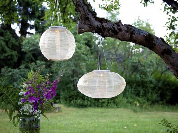 "LED-Solar-Lampion ""Festival"" beige - warmweiße LED - D: 35cm - Dämmerungssensor - outdoor"