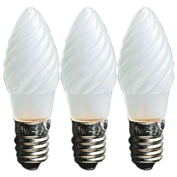 Ersatzglühbirnchen für Kerzenlichter - 12V - 3W - E10 - 3 Stück - gefrostetes Glas, gedreht