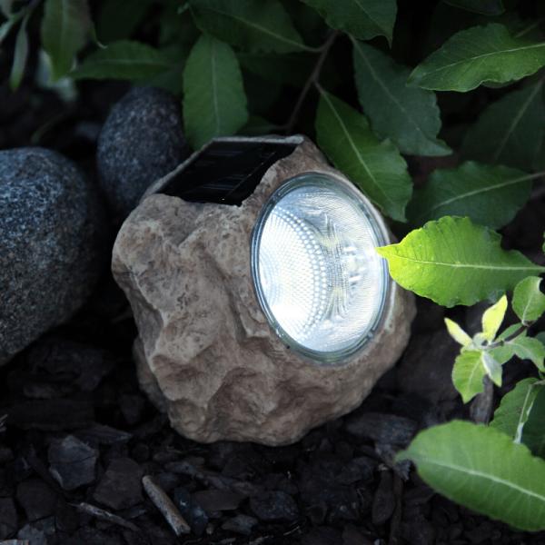 """LED Solar Stein """"Rocky"""" - Spot mit kaltweißer LED - Dämmerungssensor - H: 11cm"""