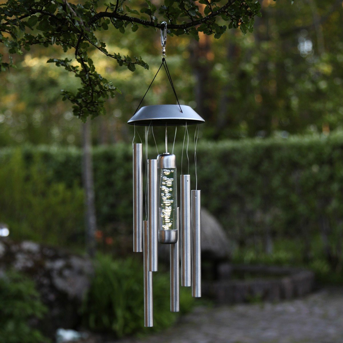 LED Solar Windspiel Bubbly - Edelstahl - warmweisse LED - H: 35cm - Dämmerungssensor - outdoor