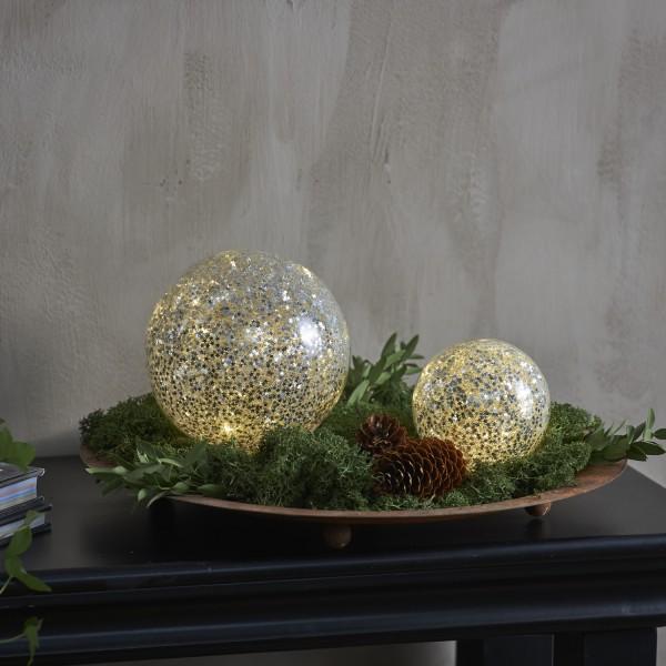 LED Glaskugel Sternendekor - 10 warmweiße LED - D: 9cm - Batterie - Timer - für Innen - silber