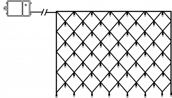 LED-Lichternetz - Dura Line Outdoor - Batteriebetrieb - Timer - 0,80 x 1,35m - 80x Warmweiß - Schwarz
