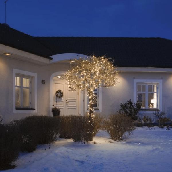 Micro LED Lichterkette - 120 bernsteinfarbene LED - L: 19,04m - schwarzes Kabel - Outdoor