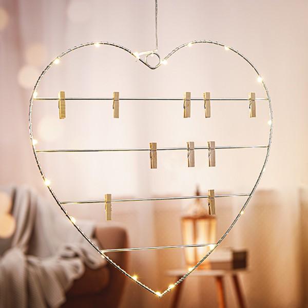 LED Foto Herz 39cm - 20 warmweiße LED - Batteriebetrieb - Für Alles was Du liebst