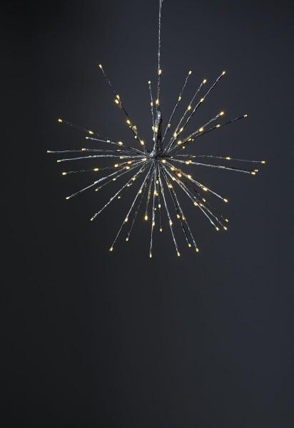 """3D-LED-Hängestern """"Firework"""" 60cm - silber mit 120 warmweißen LEDs - Programme - 5m Zuleitung"""