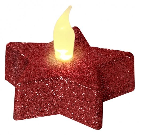 LED-Teelicht | Kunststoff | Shine | flackernde LED |→6cm | ↑5cm | 2er Set | rot