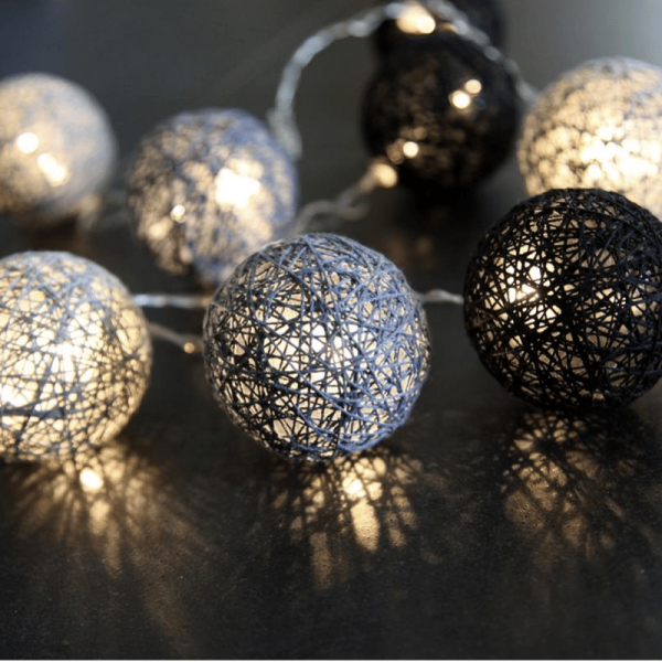 LED Ball Lichterkette SISAL - 10 warmweiße LED - 1,35m - inkl. Trafo - schwarz/grau
