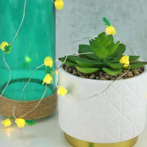 LED Drahtlichterkette Ananas - 20 warmweiße LED - Batteriebetrieb - L: 1,9m - gelb/grün