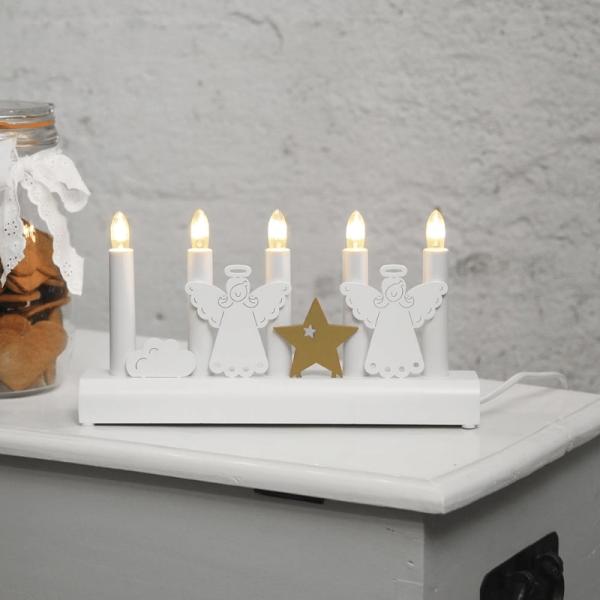 """Fensterleuchter """"Julia"""" - 5flammig - warmweiße Glühlampen - H: 15cm - Weiß/Gold"""