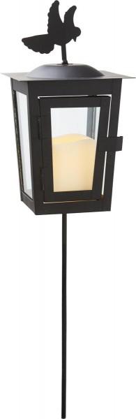 """LED Laterne """"Serene"""", mit Stab - schwarz - gelbe LED - H: 40cm D: 12,5cm - Timer"""