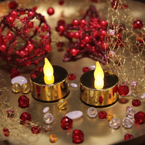 """LED Teelicht """"Mette"""" - flackernde LED - H: 4cm, D: 4cm - goldfarben - 2er Set"""