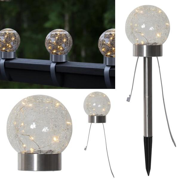 "LED-Solar-Wegleuchte 3in1 ""Hellas"" - matt silber - 4 warmweiße LEDs - H: 27cm - Dämmerungssensor"