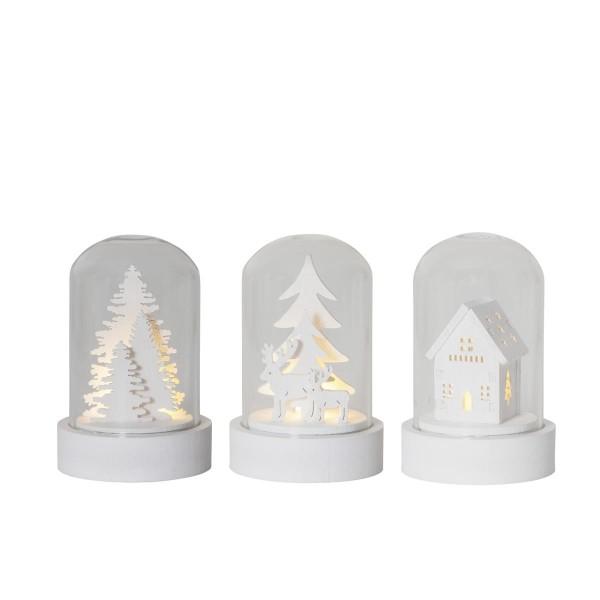 LED Deko in Glas - 3er Set - Baum, Haus, Rentiere - Holzdekoration weiß - warmweiße LED - H: 8,5cm