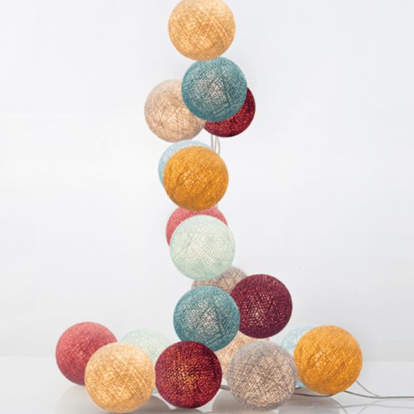 good moods* HANA - Ball-Lichterkette mit 20 Stoffkugeln - 20 warmweiße LEDs - Geschenkkarton