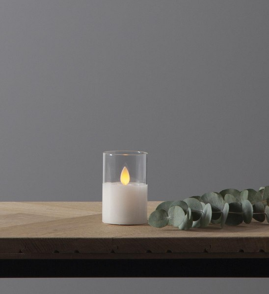 LED Windlicht - TWINKLE - Kerze im klaren Glas - H: 7,5cm - D: 5cm - Timer - bewegte, gelbe Flamme