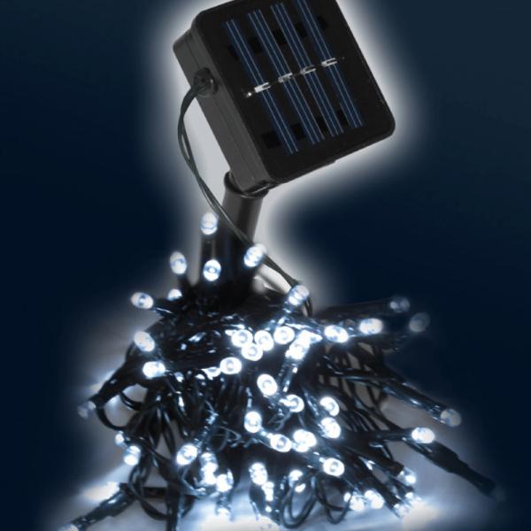 LED-SOLAR-Lichterkette | 100x hellweiße LEDs | In&Outdoor | grünes Kabel | kaltweiße LED | 10m
