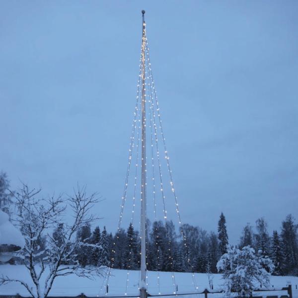 "LED-Lichtdekoration ""Flaggenmast Lichter WW"" - 400 funkelnde, warmweiße LEDs - 10m - inkl. Trafo"
