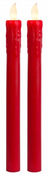 LED-Stabkerze | Echtwachs | Presse-Design | flackernde LED | Push on/off | →2.3cm | ↑25cm | 2er Set