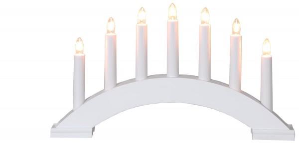Lichterbogen Bea - 7flammig - warmweiße Birnchen - L: 39cm, H: 22cm - Schalter - weiß