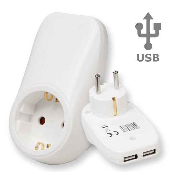 USB Zwischenstecker - 2 USB Ports - Schuko Steckdose - 3600W