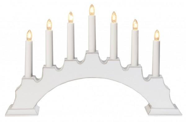 Fensterleuchter EVA - 7 warmweiße Glühlampen - L: 45cm, H: 28cm - Schalter - Weiß