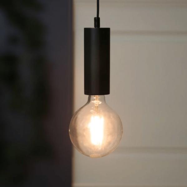 """Lampenfassung """"Tub"""" - E27 Fassung - Schalter - H: 15cm - hängend - schwarz"""