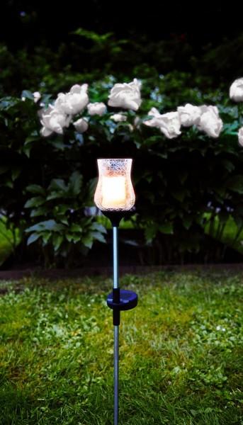 "LED-Solarstab ""Lyon""- klares Glas - gelbliche LED - H: 52cm - D: 7cm - Dämmerungssensor"