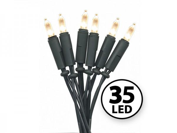 LED-Weihnachts-Lichterkette | P-LED INDOOR | Grünes Kabel | 5.10m | 35x LED | Warmweiß