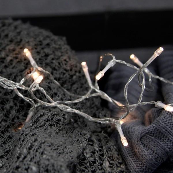 LED Lichterkette - 10 hellweiße LED - L: 1,5m - Timer - Batterie - Indoor - transparentes Kabel