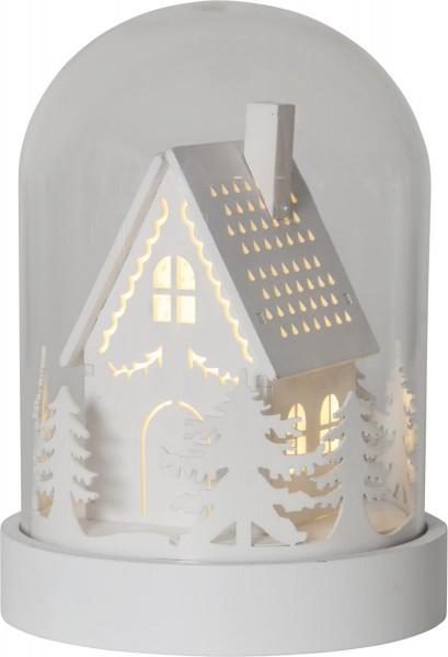 "Kuppelglas LED - ""Knusperhaus"", weiß - warmweiße LED - Timer - H: 17,5cm"