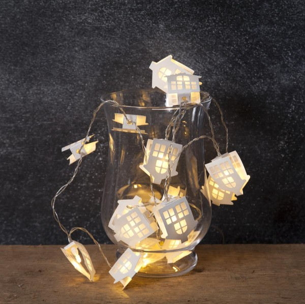 "LED-Lichterkette ""Paperhouse"" - 16 warmweiß beleuchtete Papierhäuser - 2,25m - Batterie - Timer"