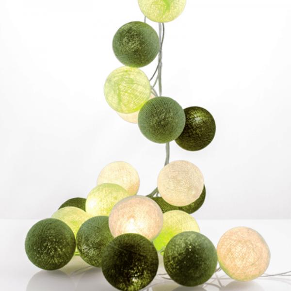 good moods* GRÜNZEUG - Ball-Lichterkette mit 20 Stoffkugeln - 20 warmweiße LEDs - Geschenkkarton