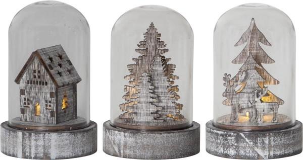 LED Deko in Glas - 3er Set - Baum, Haus, Rentiere - Holzdekoration braun- warmweiße LED - H: 8,5cm