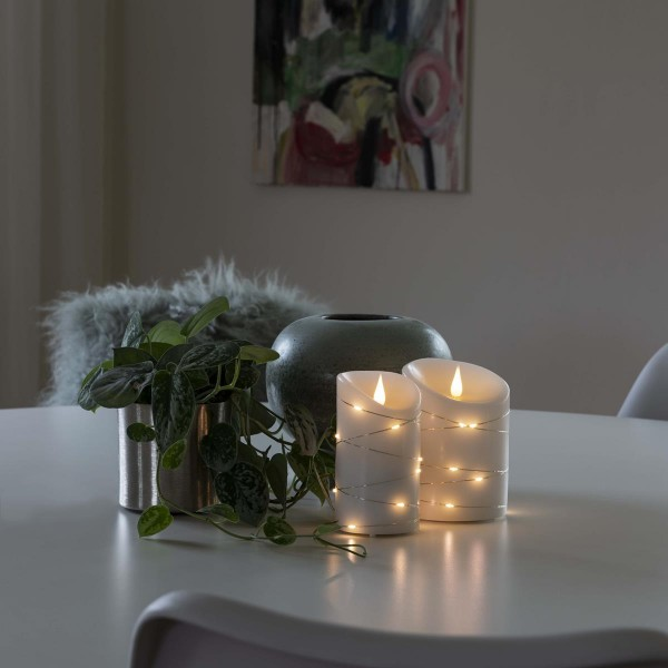 LED Kerze - Echtwachs - mit silberfarbenem Draht - 3D Flamme - Timer - H: 14cm - D: 10cm - weiß