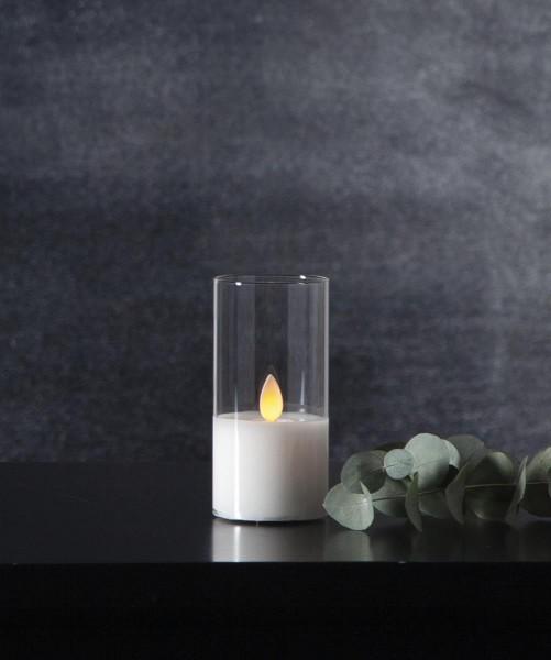 LED Windlicht - TWINKLE - Kerze im klaren Glas - H: 10cm - D: 5cm - Timer - bewegte, gelbe Flamme