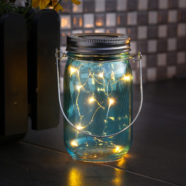 LED Solarglas - Windlicht - LED Drahtlichterkette - Lichtsensor - Aufhänger - H:14cm - D: 8cm - blau