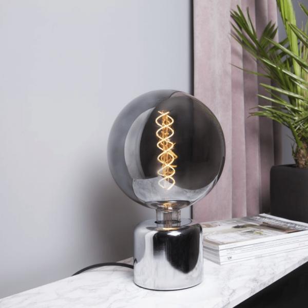 Lampenhalterung | GLANS | E27 | 180cm Kabel | Sockel | stehend | Silber-Chrom