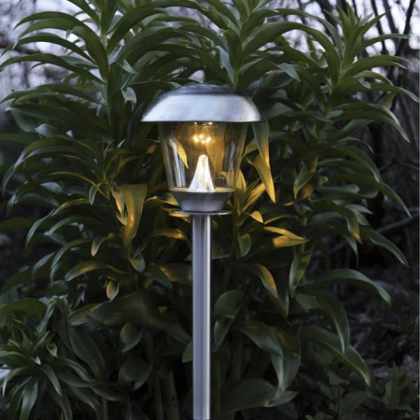 "LED Solar Wegleuchte ""Napoli"" - Edelstahl - warmweiße LED - H: 66cm - Dämmerungsensor - silber"