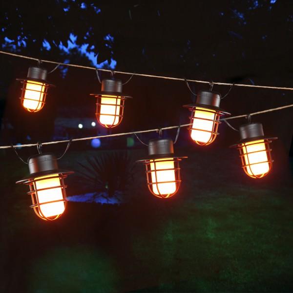 LED Solar Lichterkette INDUSTRY - 6 Laternen mit Ambiente Feuereffekt - flackernde LED - L: 1,5m