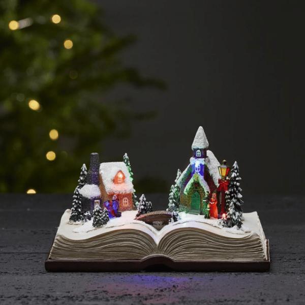 """LED-Weihnachtszene im Buch """"Bookville"""" - 6 bunte LED - H: 13cm - Batteriebetrieb - Timer - bunt"""