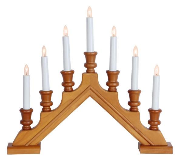 Fensterleuchter SARA - 7 warmweiße Glühlampen - L: 44cm, H: 38cm - Schalter - Holz natur, gedreht